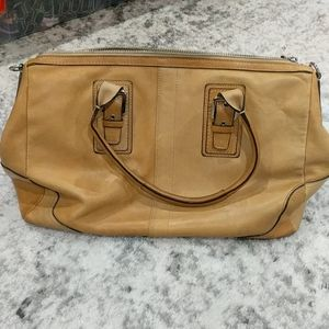 Coach tan leather satchel purse